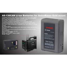 Ansso AS-130CAN Gold Mount Li-ion Battery 130Wh