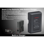 Ansso AS-130CBP-C V-Lock Li-ion Battery With Built-in Charger